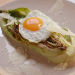 Nigella Lawson Caesar salad with roast wilted lettuce and fried egg Simply Nigella