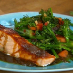 Ching He Huang steamed salmon teriyaki with wok-fried vegetables recipe on Lorraine
