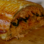 James Martin cheat's salmon coulibiac recipe on Home Comforts at Christmas