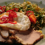 Nigella Lawson stir fried rice with ham, sprouts, ginger and pineapple double sprouts topped with a fried egg recipe on Simply Nigella Christmas Special