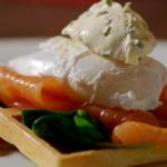 James Martin waffles with smoked salmon recipe on Home Comforts at Christmas