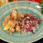 Nadia Sawalha herby chicken kebabs with coleslaw and rice recipe on Lorraine