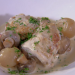 Rosemary Shrager chicken fricassee with basmati rice on Chopping Block