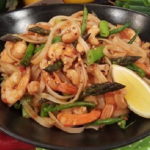 Ching's Chinese prawn and asparagus noodles recipe on Lorraine