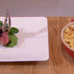 Rosemary Shrager rack of lamb with gratin dauphinoise and mint pea puree recipe on Chopping Block
