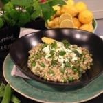 John Whaite's pea risotto with minty feta recipe on Lorraine