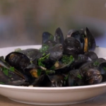 Rick's mussels with Bayonne ham and shallots recipe on This Morning