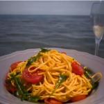 Gino D'Acampo pasta with cherry tomatoes, garlic, chilli and rocket  recipe on Gino's Italian Escape: Hidden Italy