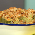 Simon Rimmer baked leeks with roquefort and mustard recipe on Sunday Brunch