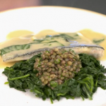 Theo Randall steamed sea bass with basil, lemon, lentils and spinach recipe on Yes Chef