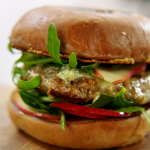 Jamie Oliver crazy good pork burger with pear and Stilton cheese recipe