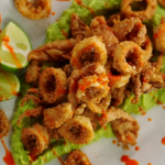 Jamie Oliver crispy squid with smashed avocado and chilli sauce recipe