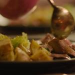 Nigella Lawson herbed leg of lamb with garlic roast potatoes, oregano and feta recipe