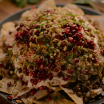Nigella Lawson beef and aubergine fatteh with pomegranate recipe on Nigella: At My Table