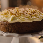 Nigella Lawson carrot cake with crystallised ginger, walnuts and cream cheese icing recipe on Nigella: At My Table