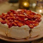 Nigella Lawson rose and pepper pavlova with passionfruit juice and strawberries recipe on At My Table