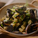 Nigella Lawson mussels with cherry tomatoes and pasta recipe on Nigella: At My Table