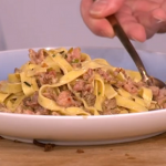 Gino's easy midweek meal with fresh tagliatelle, sausages and leeks recipe on This Morning