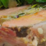 Jamie Oliver roast salmon with artichokes and almond stuffing recipe on Friday Night Feast
