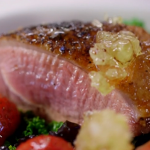 James Martin duck with honey, wilted greens and a port and honey sauce recipe