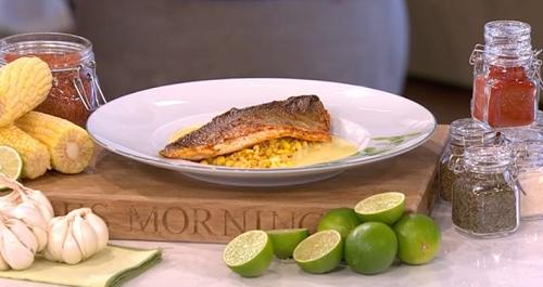 James Martin cajun sea bass with corn and butter sauce ...