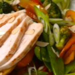Linia Patel chicken, sweet pepper and mange tout stir-fry with almonds recipe on Get a Holiday Body