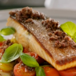 Jamie Oliver smoky chorizo salmon with black olive tapenade and tomato salad recipe