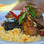 Jamie Oliver chicken with aubergine pot roast and couscous recipe