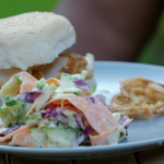 Chris Bavin homemade coleslaw with spicy cod burgers recipe