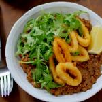 Nadiya Hussain bulgur wheat risotto with crispy squid recipe