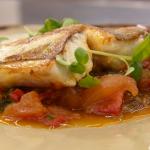 Monica Galetti gurnard with a Mediterranean pepper and tomato sauce recipe