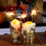 James Martin parkin knickerbocker glory with ginger and rhubarb compote recipe