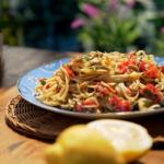 Gino D'acampo crab and prosecco linguine pasta recipe on Gino's Italian Coastal Escape