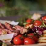 Gino's rib eye steak tagliata with rocket, pear, walnut and gorgonzola salad recipe