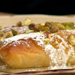 Simon Rimmer Mutabaq with mozzarella and pistachio nuts recipe on Sunday Brunch