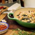 Gino's orecchiette pasta with broccoli and sausages recipe on Gino Italian Coastal Escape