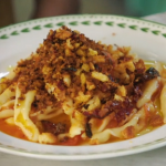 Danny Devito's stretched pasta with breadcrumbs and  tomato sauce recipe on Jamie and Jimmy's Friday Night Feast