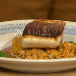 Jason Atherton sea bass with crab and crushed potatoes recipe on Sunday Brunch
