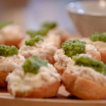 Nadiya Hussain smoked mackerel pate choux with green pineapple chutney recipe on Nadiya's Party Feasts