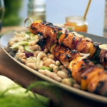 Gino's sticky marmalade chicken skewers with bean salad recipe