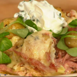 Simon Rimmer ham and Gruyere cheese potato bake recipe on Sunday Brunch