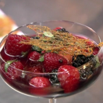 Raymond Blanc fruit soup with a caramel cage and champagne recipe on Saturday Kitchen
