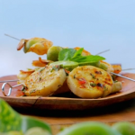 Ainsley Harriott grilled yams and BBQ lime prawns with garlic, mint and chilli dressing recipe on Ainsley's Caribbean Kitchen