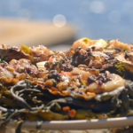 James Martin BBQ scallops with apple, black pudding and hazelnut butter recipe