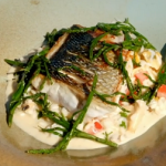 James Martin pan fried sea bass with samphire and seafood risotto recipe on James Martin's Great British Adventure