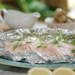Lisa Faulkner salmon with baby leeks and watercress sauce recipe on John and Lisa's Weekend Kitchen