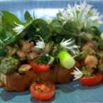 Paul Askew Bruschetta With Asparagus and Potted Shrimp recipe on Sunday Brunch