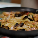 John Torode seafood paella with saffron and butter beans recipe on John and Lisa's Weekend Kitchen