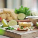 John Torode vegan tacos with tofu and coleslaw on John and Lisa's Weekend Kitchen