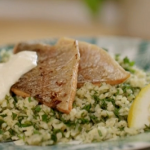 Lisa Faulkner trout with Bulgar wheat and horseradish sauce recipe on John and Lisa's Weekend Kitchen